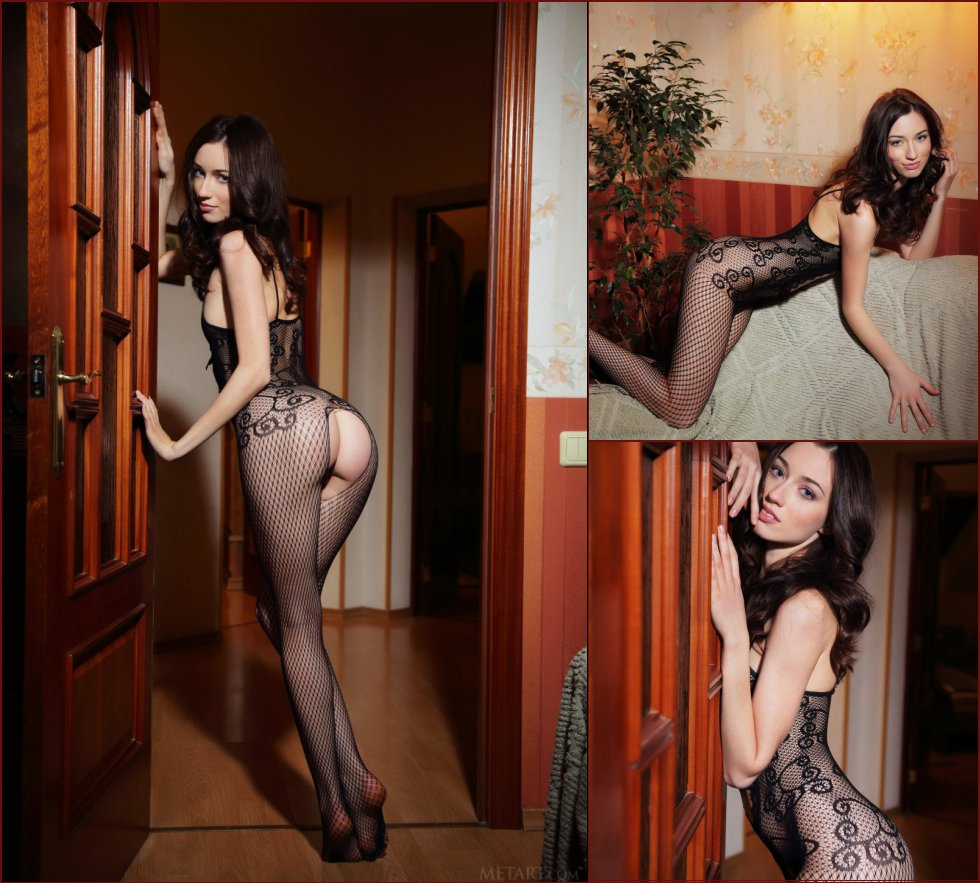 Fabulous brunette in sexy fishnet bodystocking - Zsanett Tormay - 17