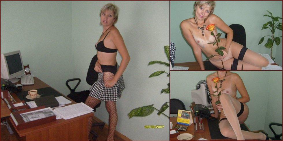 Secretary does a striptease in the office - 7