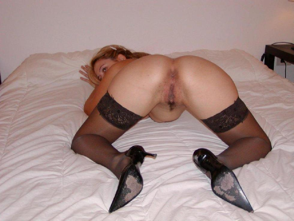 Blonde wife in black stockings - 1