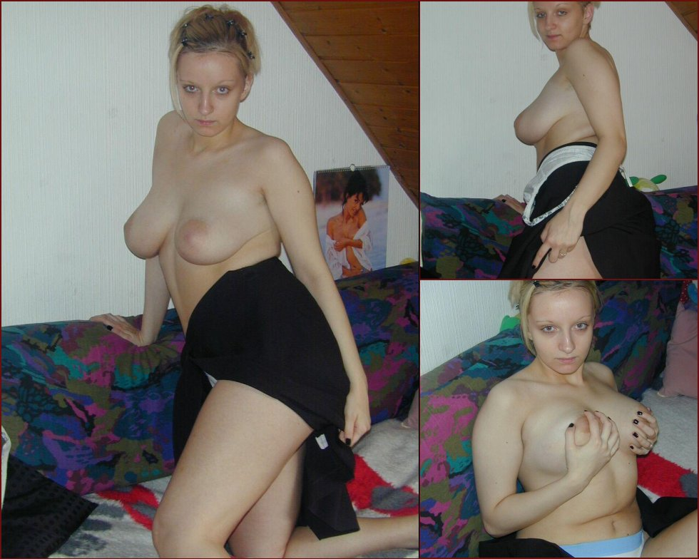 Blonde wife with big natural boobs - 15