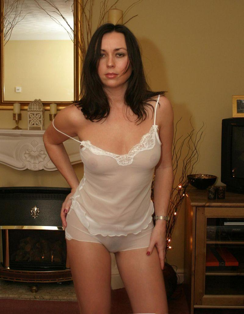 Dark-haired chick in transparent lingerie - 7