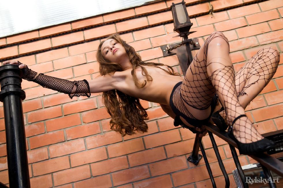 Young girl in sexy fishnets - Freya