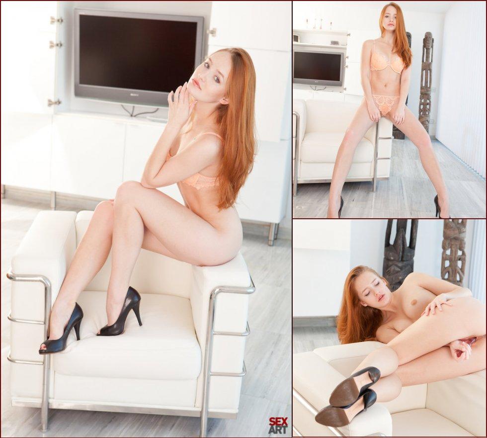 Leggy redhead is penetrating sweet pussy - Denisa Heaven - 49