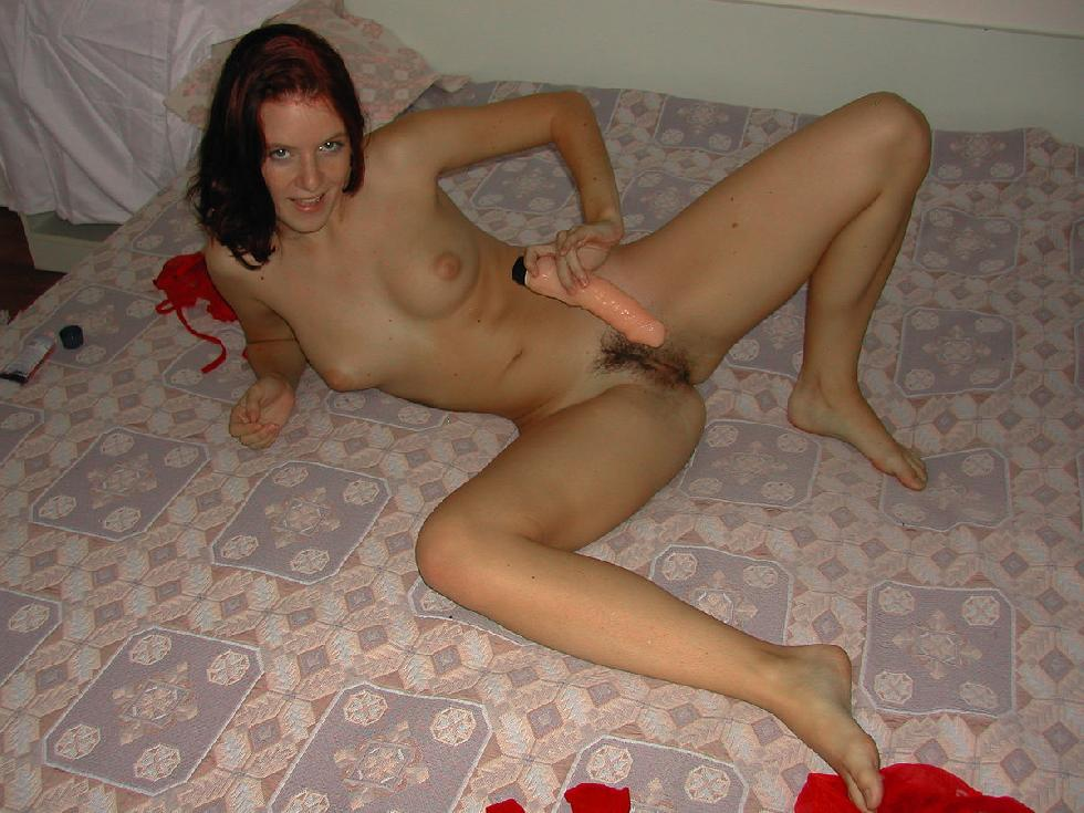 Red-haired wife is playing with big vibrator - 20
