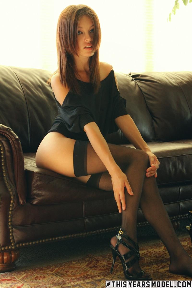 Sensual redhead in black - Ashley Doll - 7