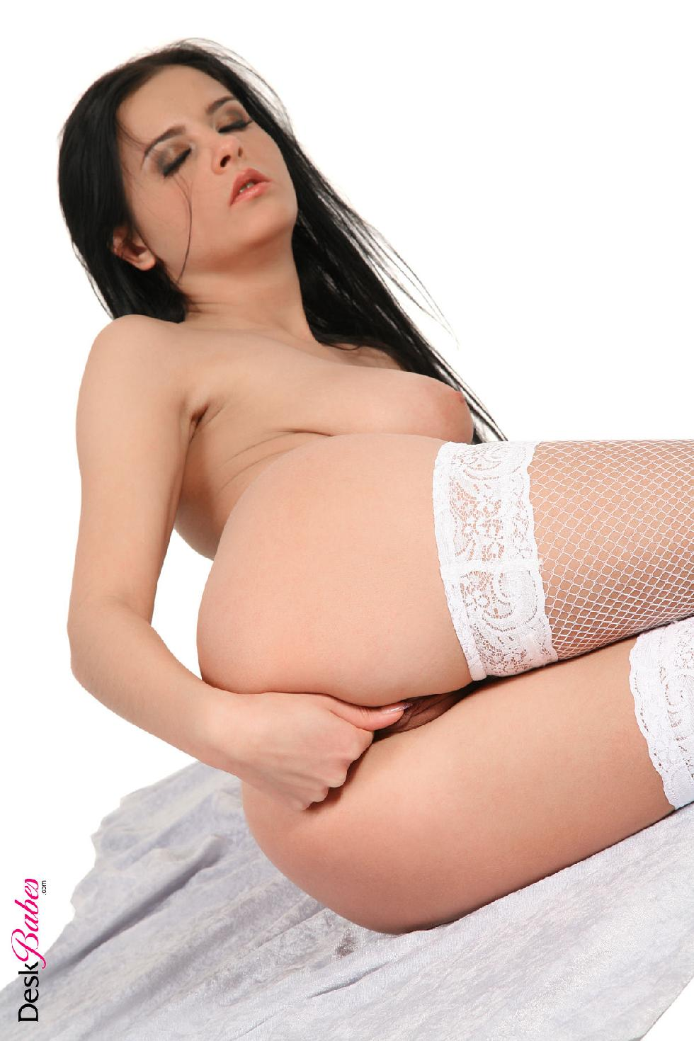 Horny brunette in white stockings - Candy Alexa - 10