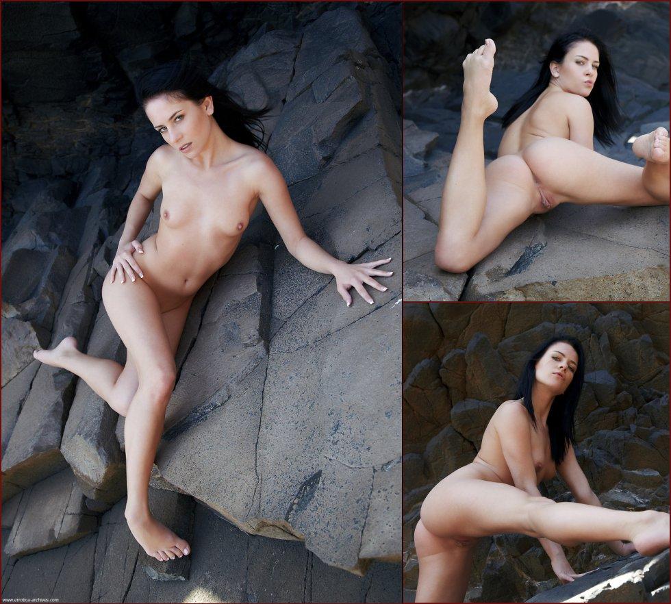 Naked brunette on the rocks - Aprilia - 191