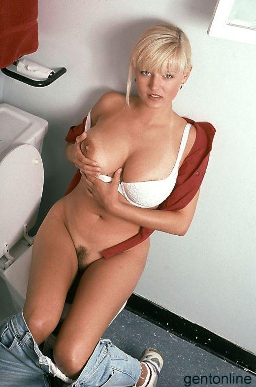 Bathroom fun with busty blonde mom - Sandra - 2