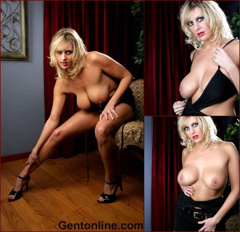 Blonde MILF named Renee is showing off her big rack - 35