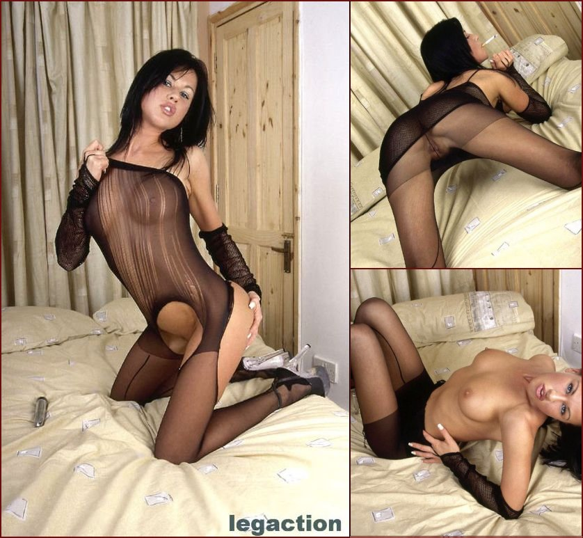 Wild brunette in hot bodystocking - Becky - 6