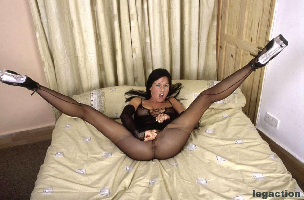 Wild brunette in hot bodystocking - Becky - 1