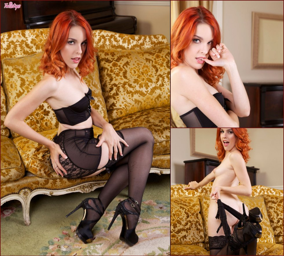 Hot redhead is masturbating on the sofa - Amarna Miller - 68