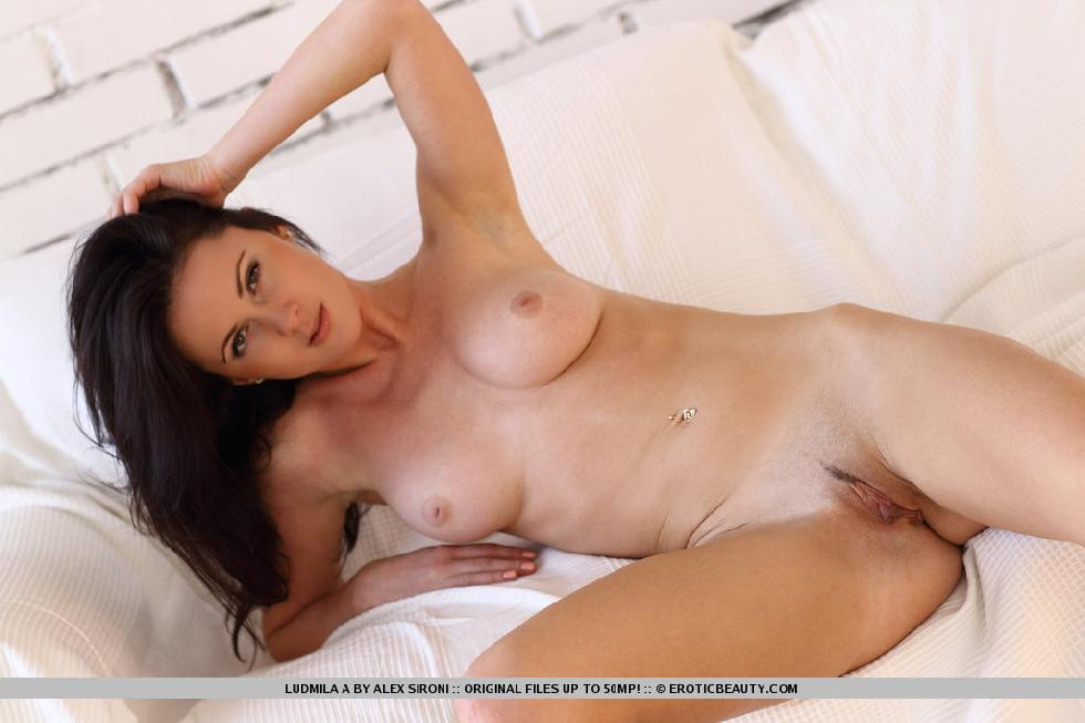 Magnificent brunette named Ludmila shows meaty pussy - 12