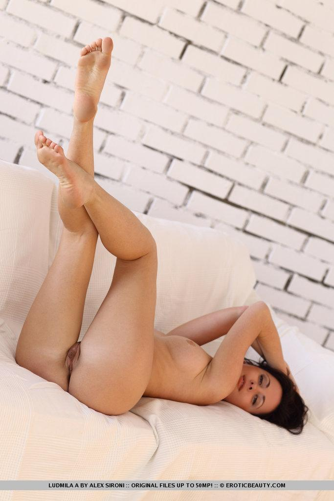 Magnificent brunette named Ludmila shows meaty pussy - 13