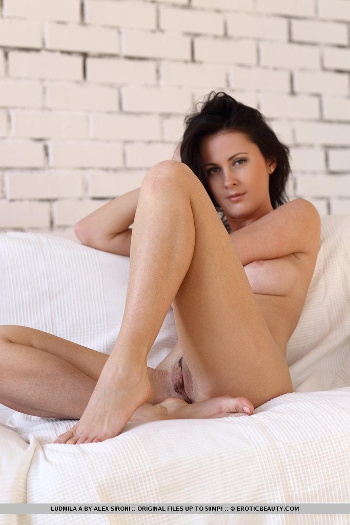 Magnificent brunette named Ludmila shows meaty pussy - 14