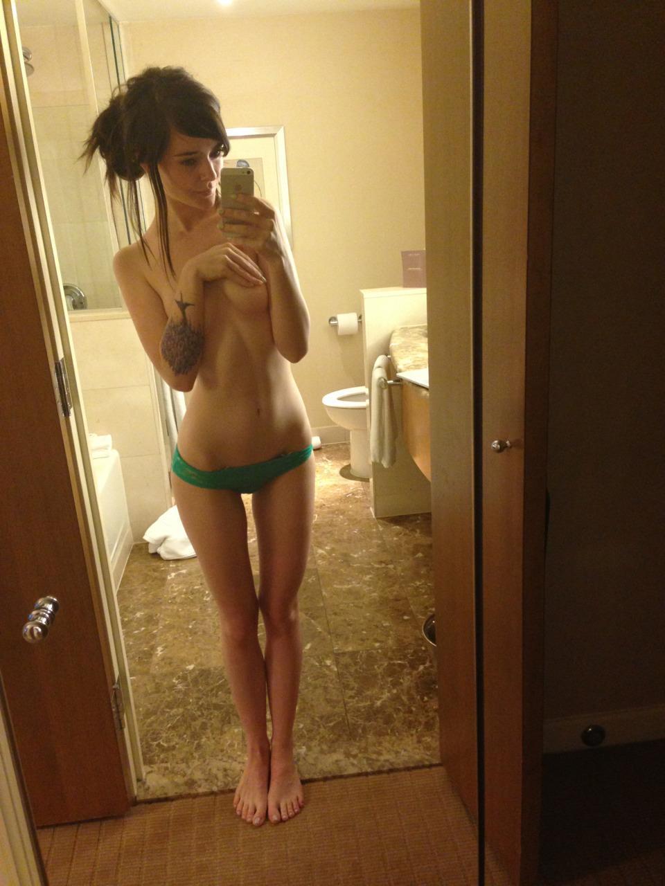 Tattooed brunette in lingerie - 11