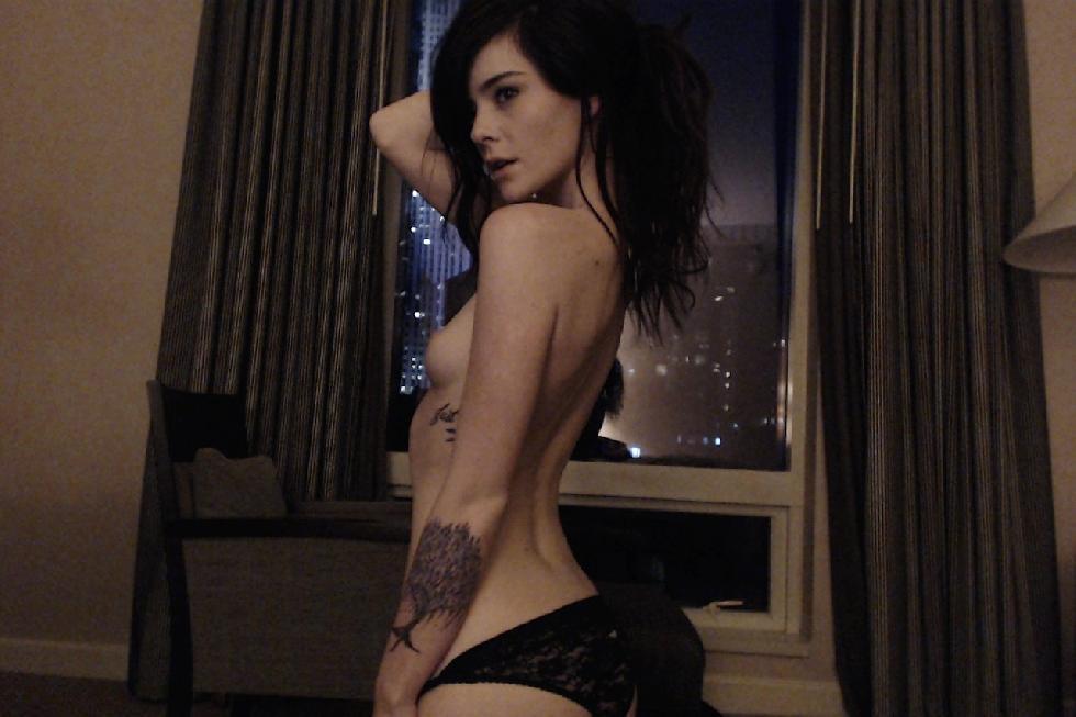 Tattooed brunette in lingerie - 14
