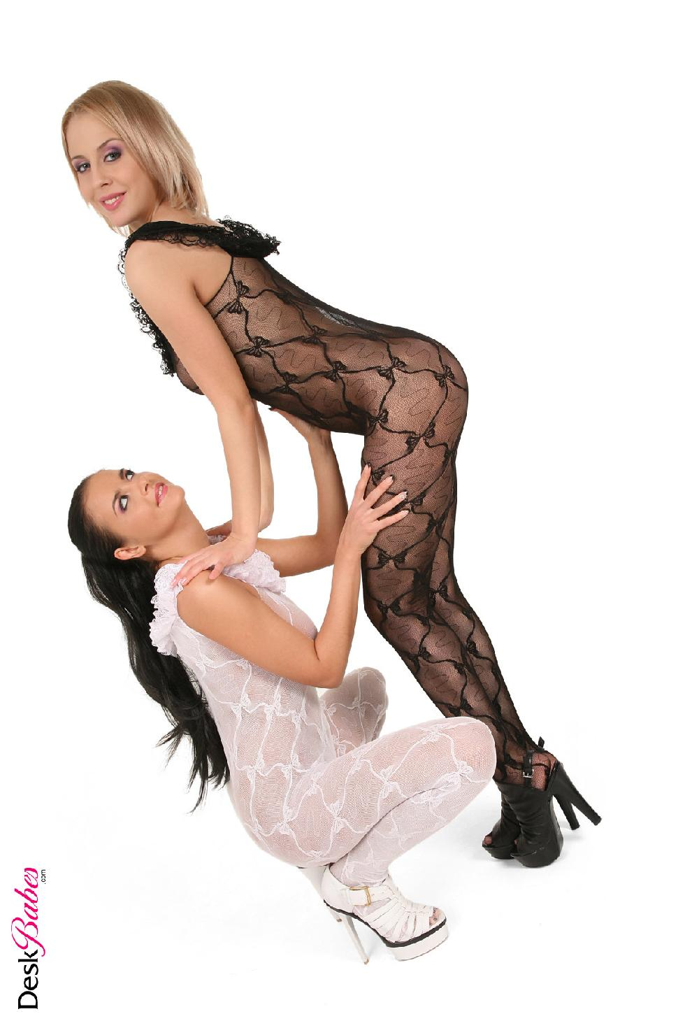 Two hot babes in sexy bodystocking - Mandy Dee and Candy Alexa - 6