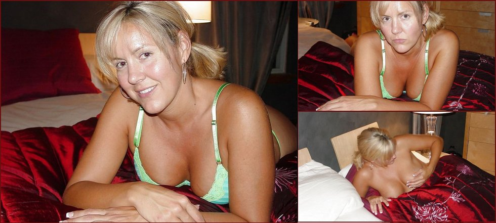 Busty, horny MILF on the bed - 20