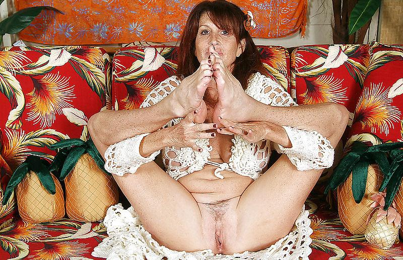 Busty mature on a sofa - 4