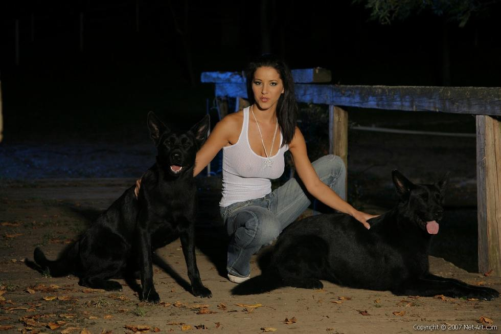Sexy brunette and her dogs - Angel - 1