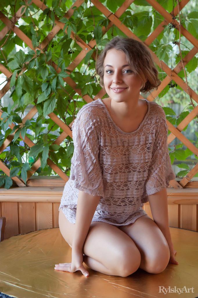 Smiling Nikia in flimsy blouse - 7