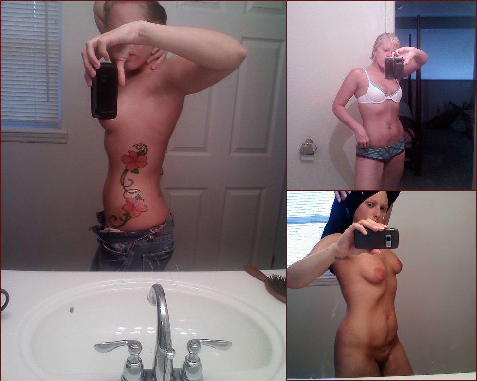 Tattooed blonde takes selfies - 17