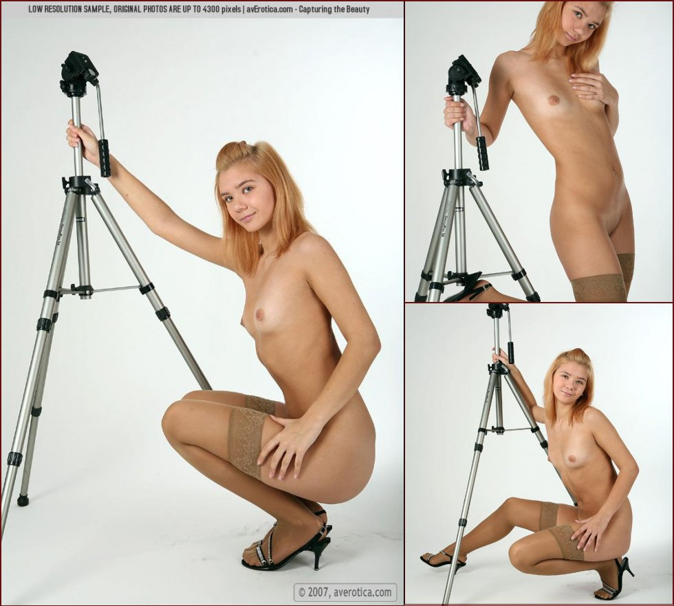 Blonde photographer in sexy stockings - Diana - 3