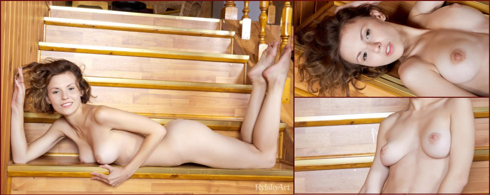 Naked girl is posing on the stairs - Walda - 29