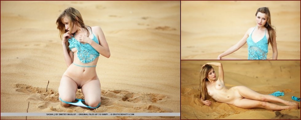 Gorgeous girl is posing on the sand- Sasha - 31