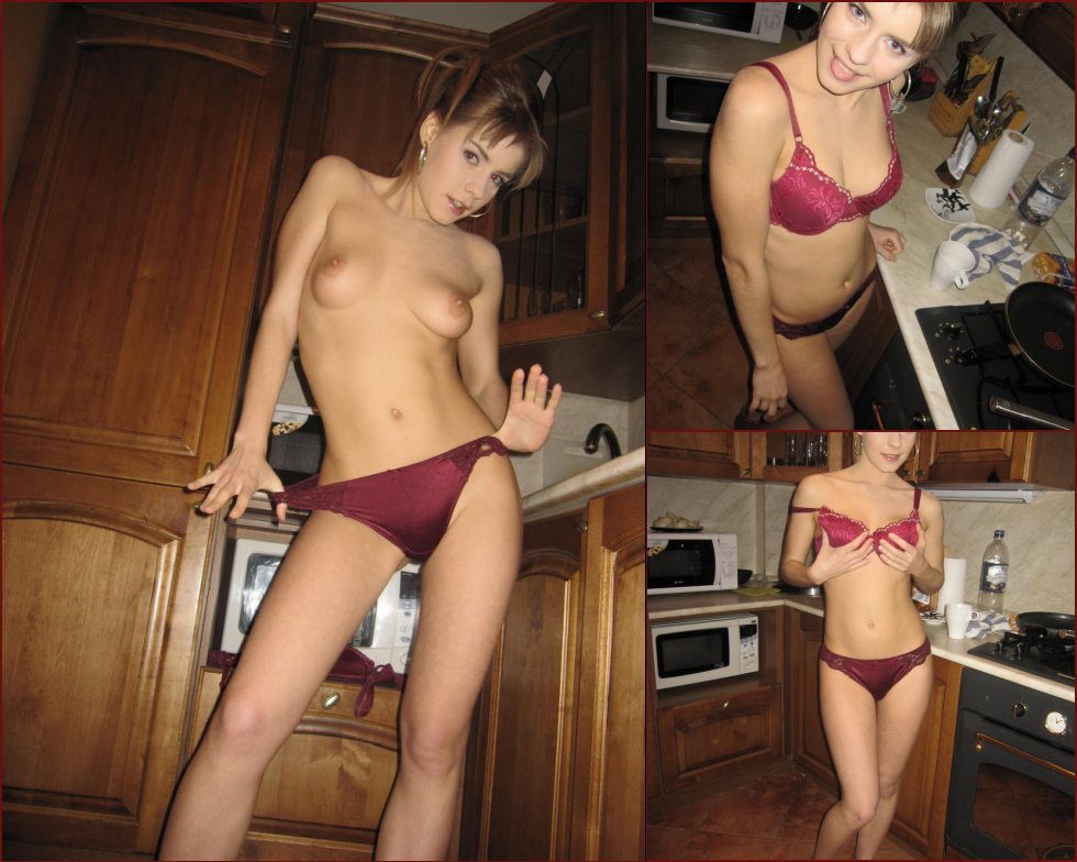 Horny blonde in the kitchen - 60