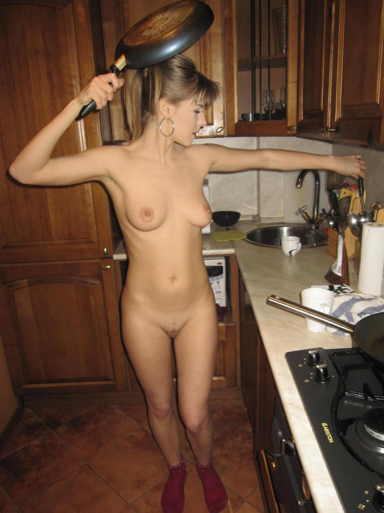 Horny blonde in the kitchen - 9