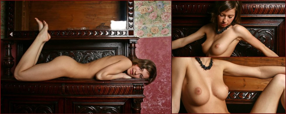 Lovely Dasha is posing naked on an antique furniture - 1