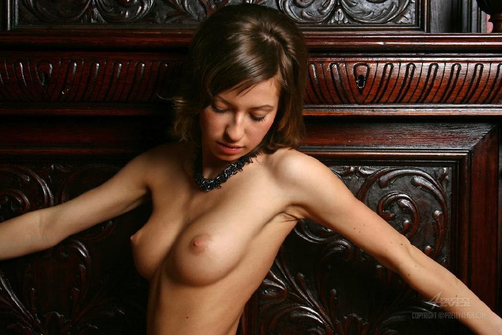 Lovely Dasha is posing naked on an antique furniture - 2