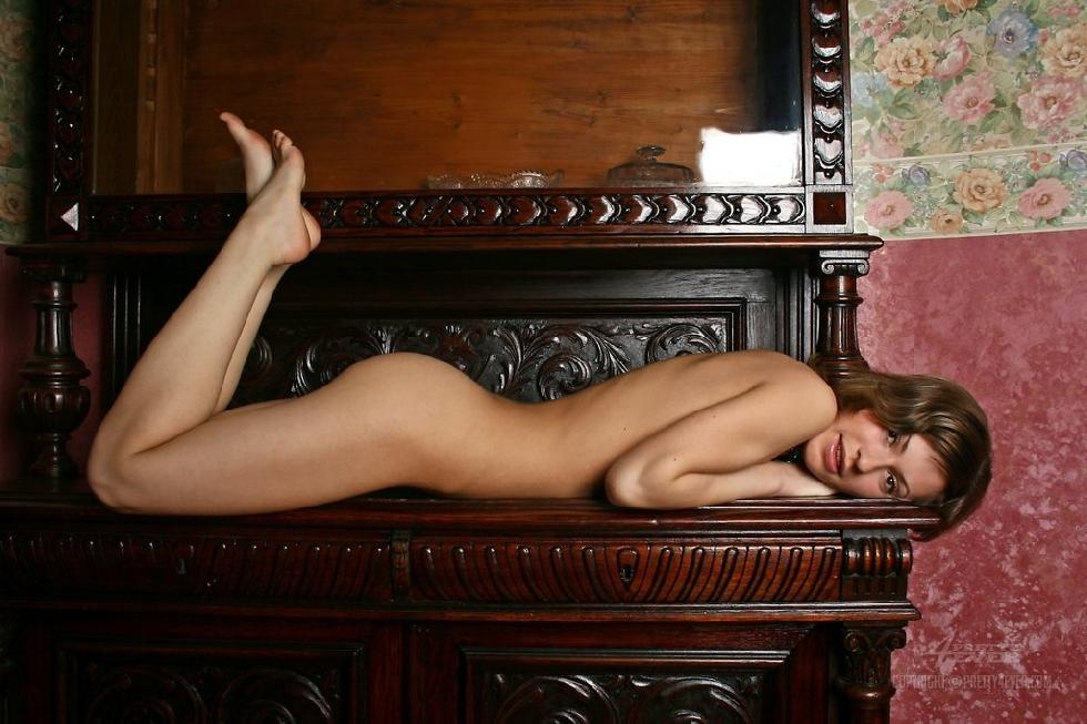 Lovely Dasha is posing naked on an antique furniture - 7