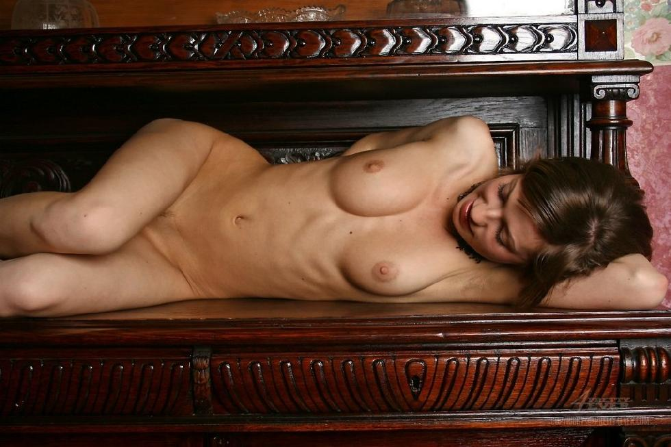 Lovely Dasha is posing naked on an antique furniture - 8