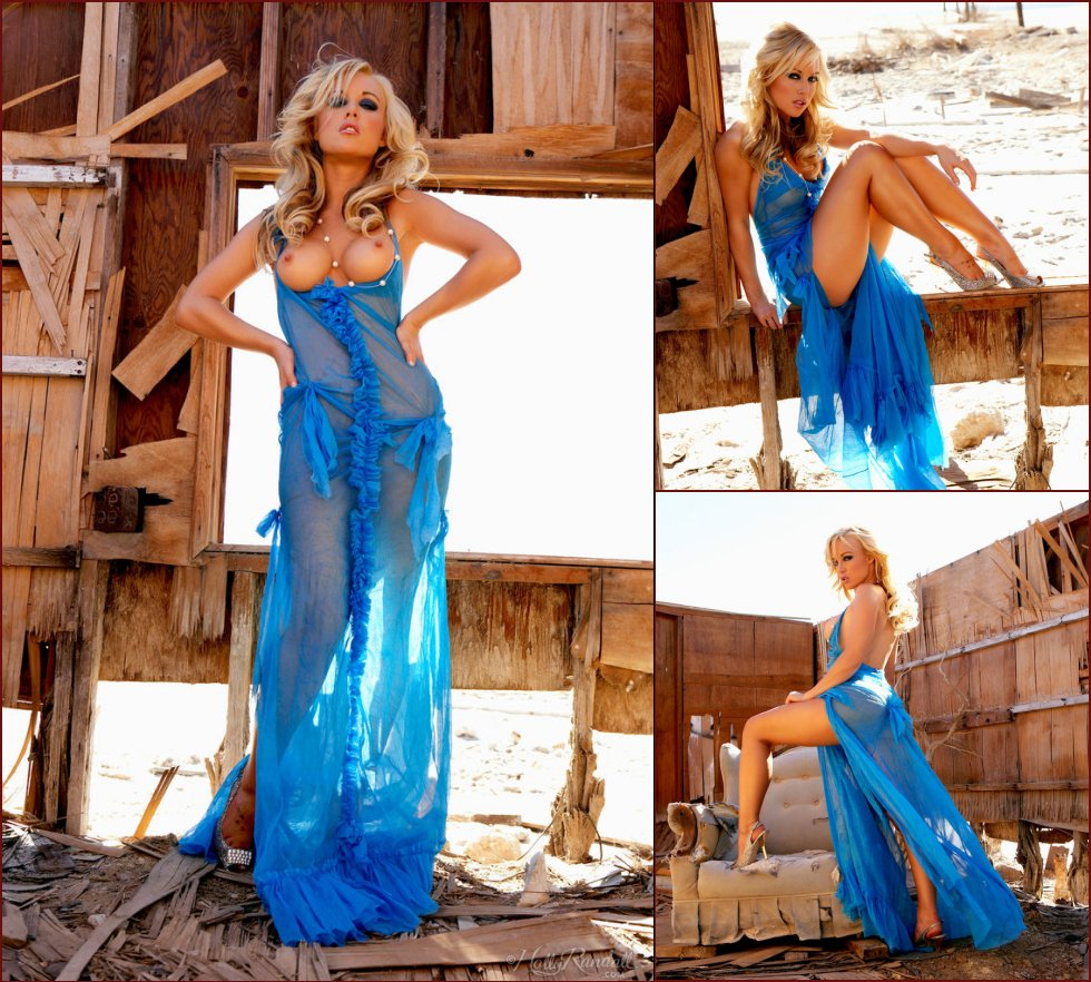 Beautiful Kayden Kross in a blue dress is opening her long legs - 20