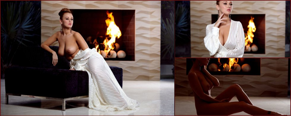 Stunning Leeanna Decker is posing by warm fireplace - 45