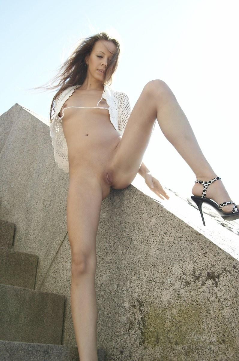 Blonde Natasha is tempting on the outside stairs - 11