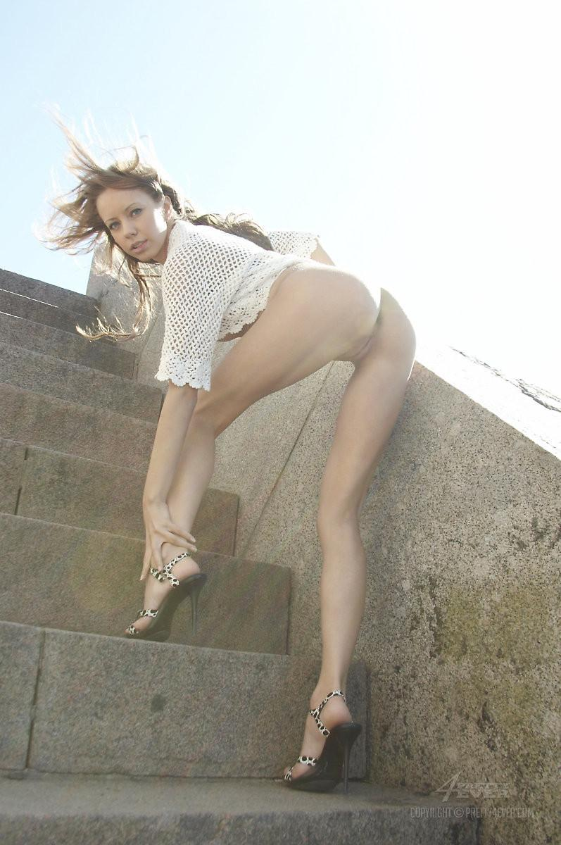 Blonde Natasha is tempting on the outside stairs - 12