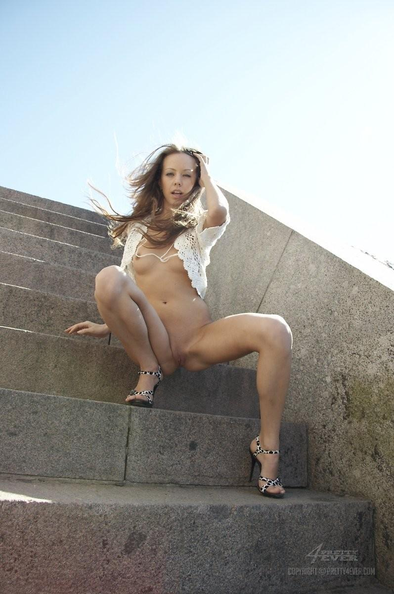 Blonde Natasha is tempting on the outside stairs - 13