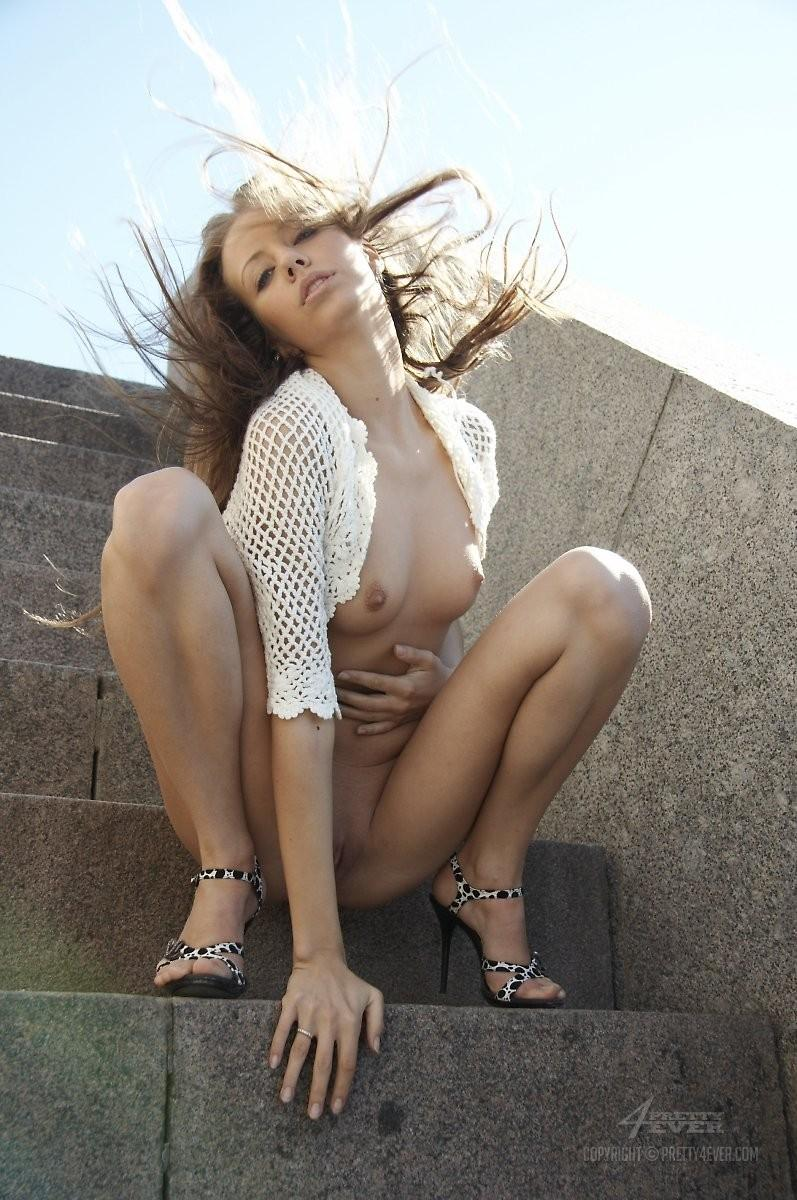 Blonde Natasha is tempting on the outside stairs - 14