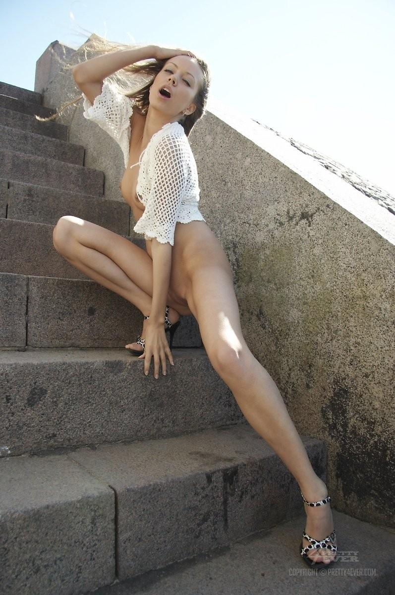 Blonde Natasha is tempting on the outside stairs - 15