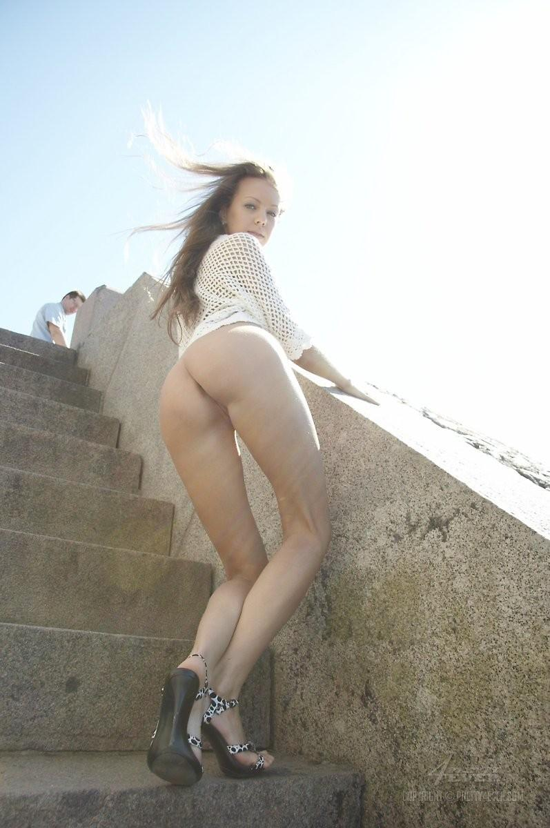 Blonde Natasha is tempting on the outside stairs - 2