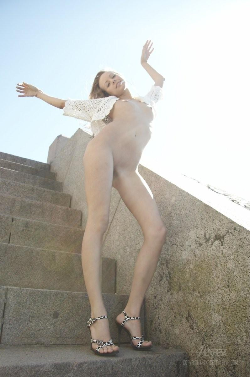 Blonde Natasha is tempting on the outside stairs - 3