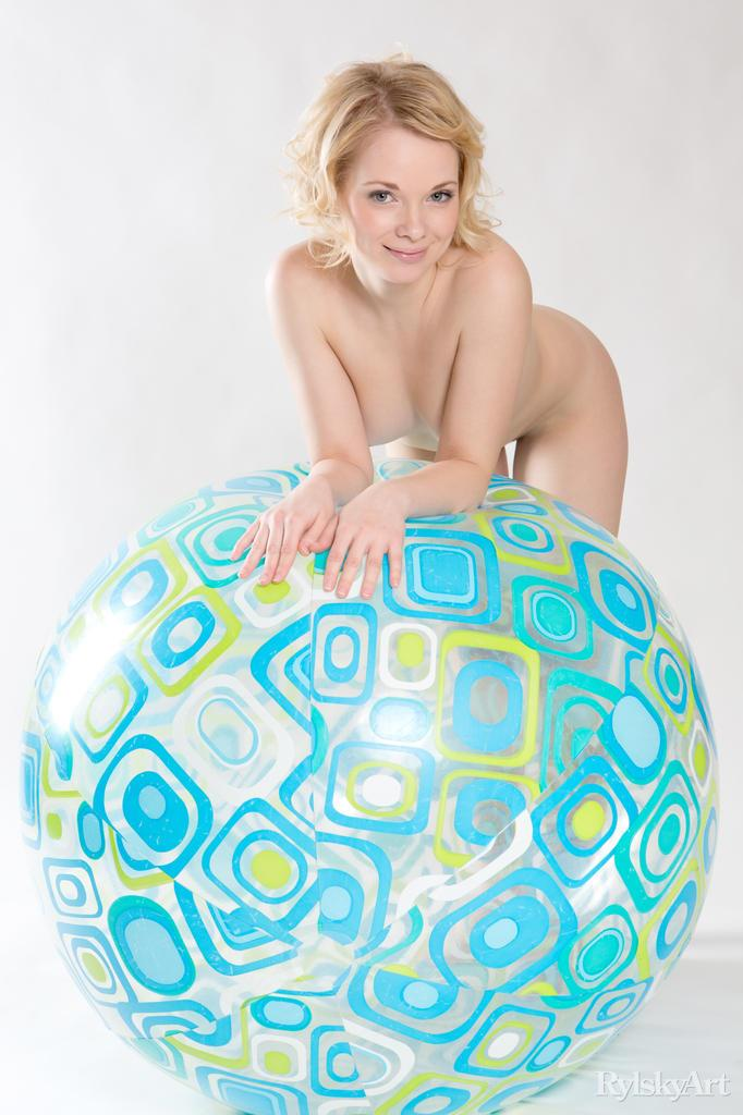 Adorable and naked Feeona is posing with a beach ball - 14