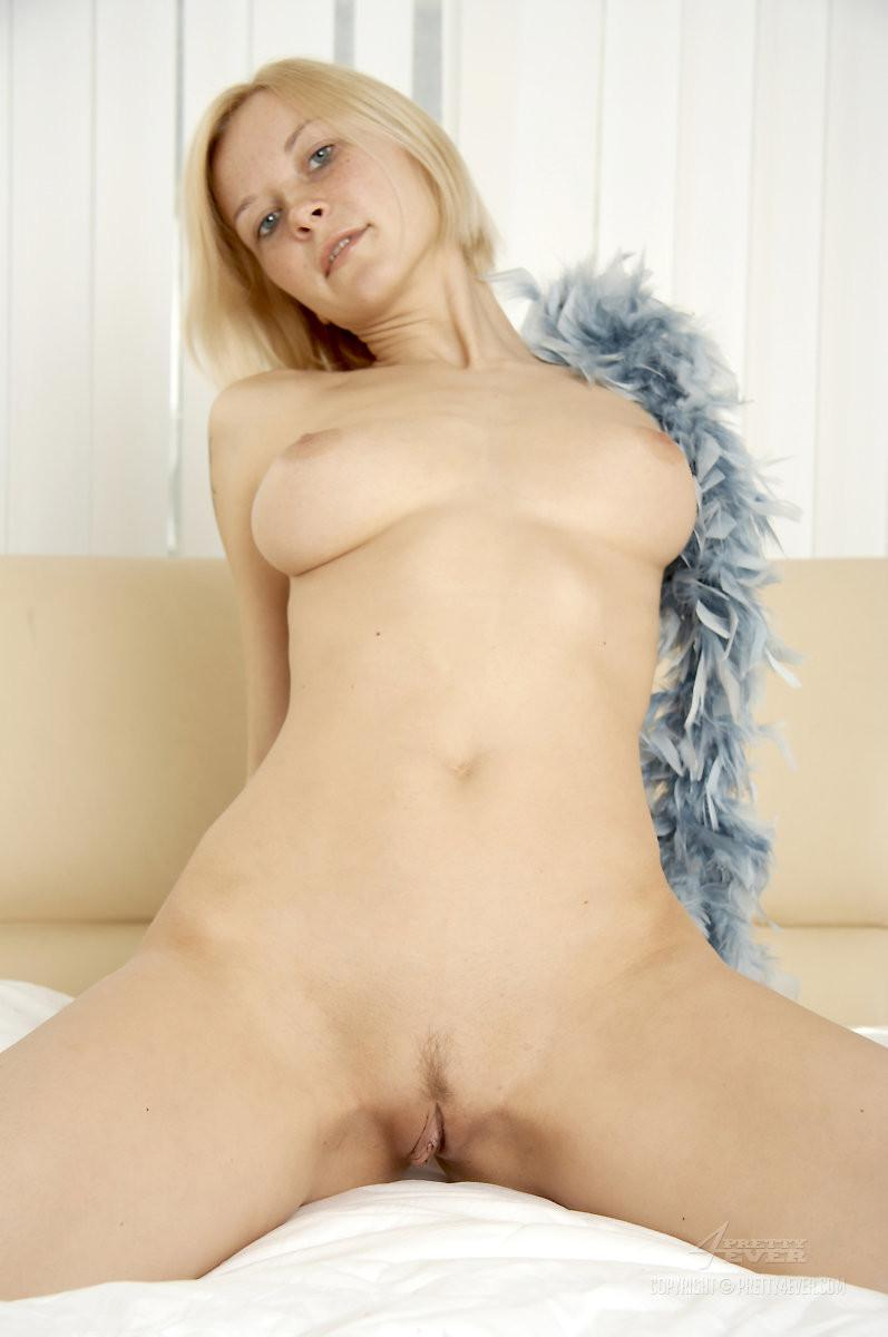 Naked Adina is posing with feather boa - 11