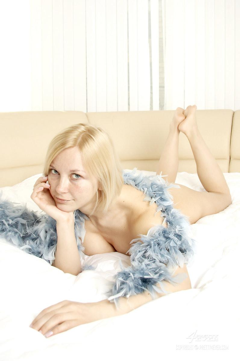 Naked Adina is posing with feather boa - 9