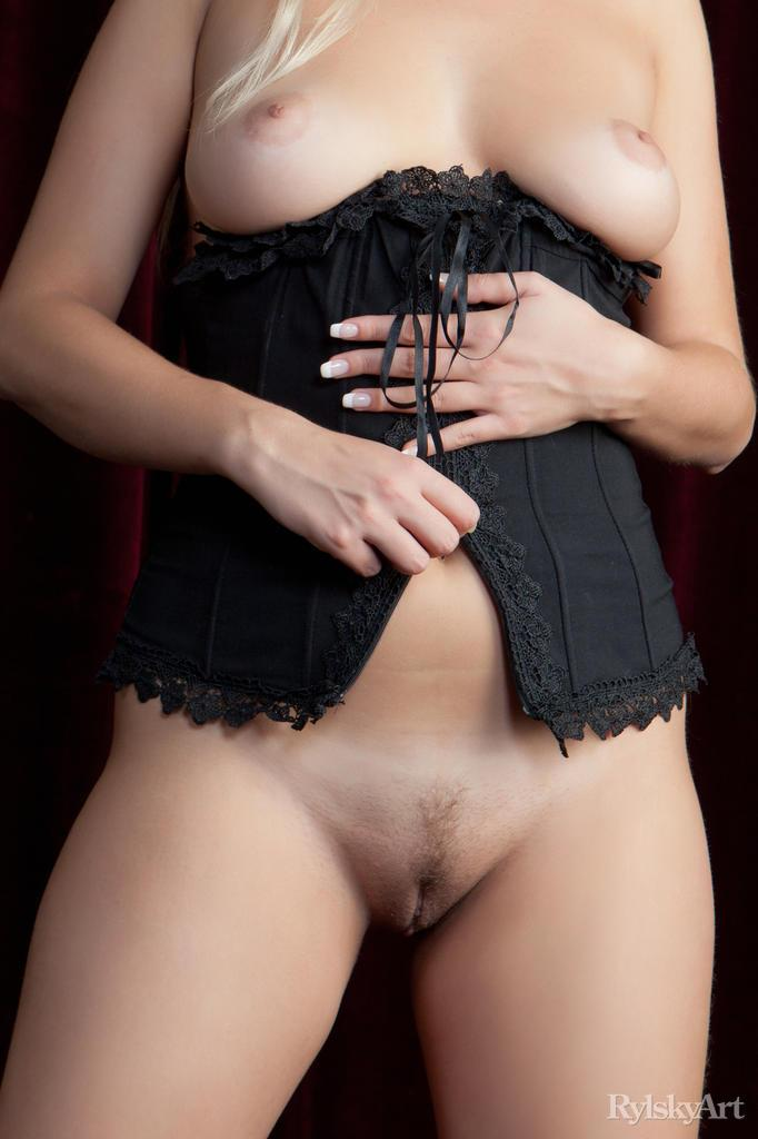 Paige is stripping her red panties and black corset - 16
