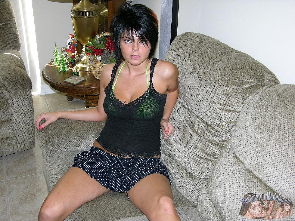 Brunette Dee is having fun on bed - 1